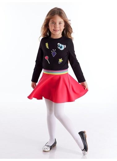 Mushi Emojili Kız Elbise Siyah